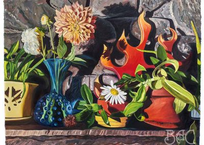 "Julia Whitney Barnes, ""Dear Dahlia/Domestic Bliss"", ink and oil on mylar, 33"" x 43"", 2017, $5000 framed"
