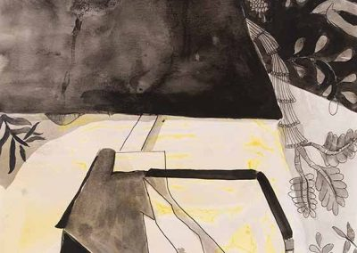 Jessica Bottalico, Bedside, Pen, Ink and tissue paper residue on paper, 11 x 15 inches, 2020, $500