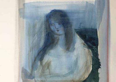 "Maria Kondratiev, Alone, watercolor on paper, 8"" x 12"", 2018"