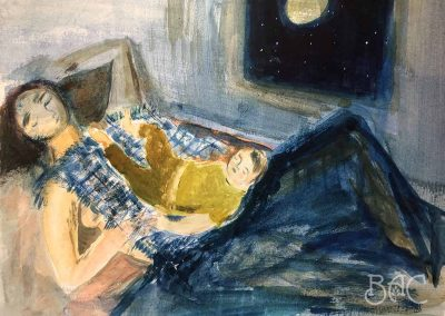 "Maria Kondratiev, Grateful, watercolor on paper, 8"" x 10"", 2020"