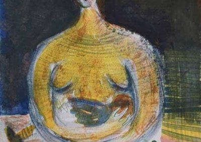 "Maria Kondratiev, Late at night, watercolor gouache on paper, 6.5"" x 10"", 2018"