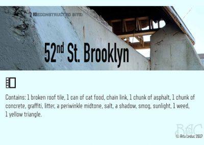 "Rita Leduc, Deconstructed Site: 52nd St/Brooklyn (card), mixed media, 2"" x 6.5"" x 8"" box, 6"" x 4"" card, 2017"