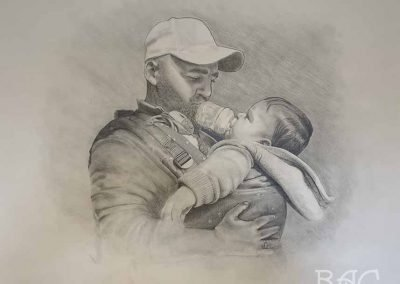 Peter Leeds, Daddy and River Bear, pencil on paper, 3' x 4.5', NFS