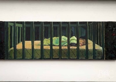 """Peter Leeds, Baby River Dreaming, oil on wood, 5"""" x 17"""", $960"""