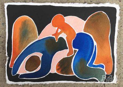 "Liz Luisada, Untitled, watercolor on typewriter paper, 8"" x 5.5"", 2020"