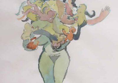 "Liz Luisada, Untitled, watercolor on Khadi paper, 8"" x 5.5"", 2020"