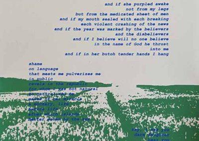"Sahar Muradi, screenprinted broadside of poem for Soma, 12"" x 18"", 2019"