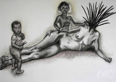 """Jackie Skrzynski, Harvesters, charcoal and colored pencil, 70""""x 50"""", 2004, $900"""