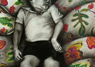 """Jackie Skrzynski, Boy Napping with Bears charcoal and colored pencil, 50"""" x 60"""", 2006, $1000"""